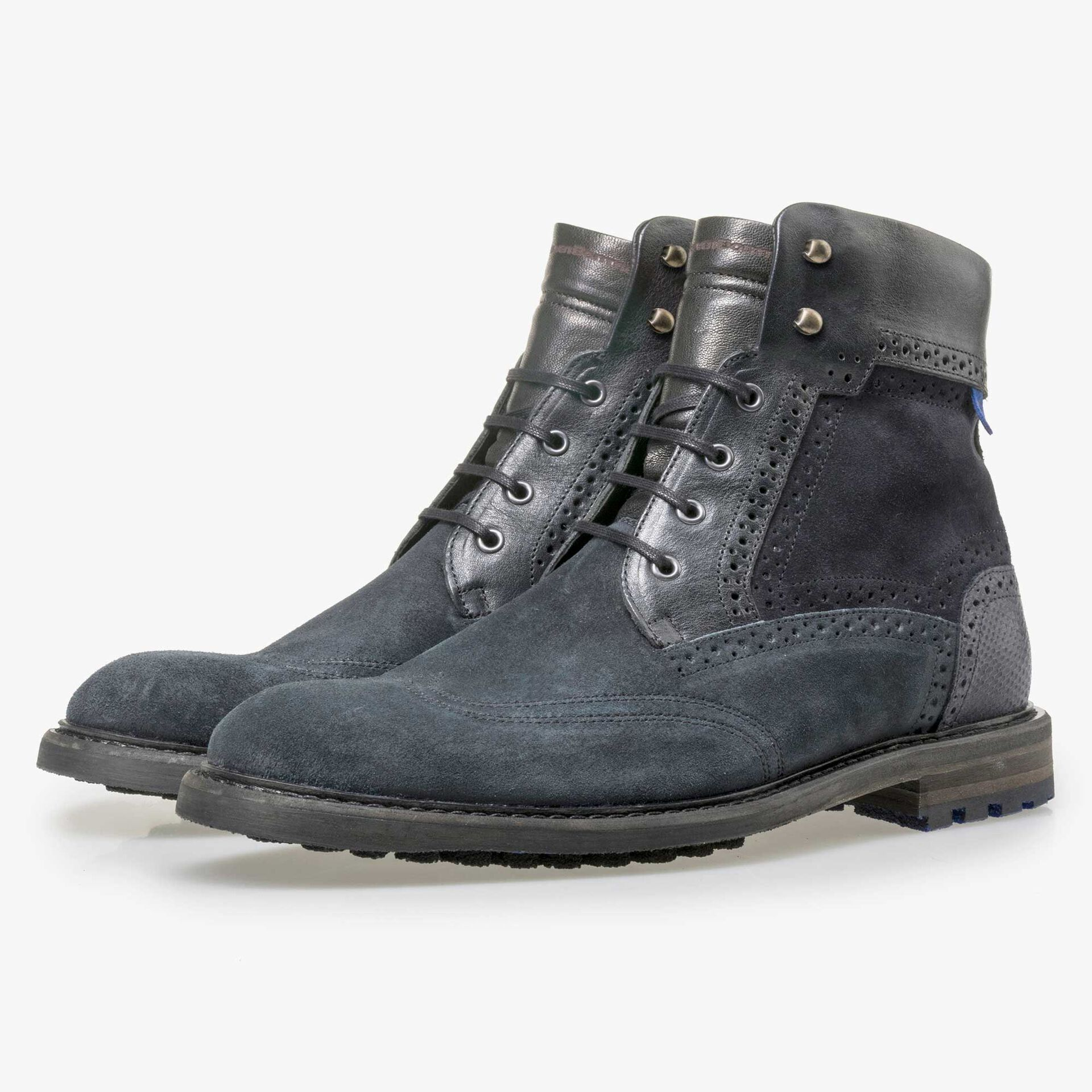 Floris van Bommel dark blue high suede leather lace boot