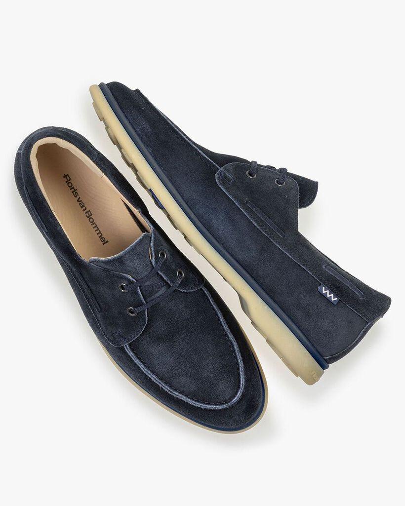 Bootschoen suède blauw