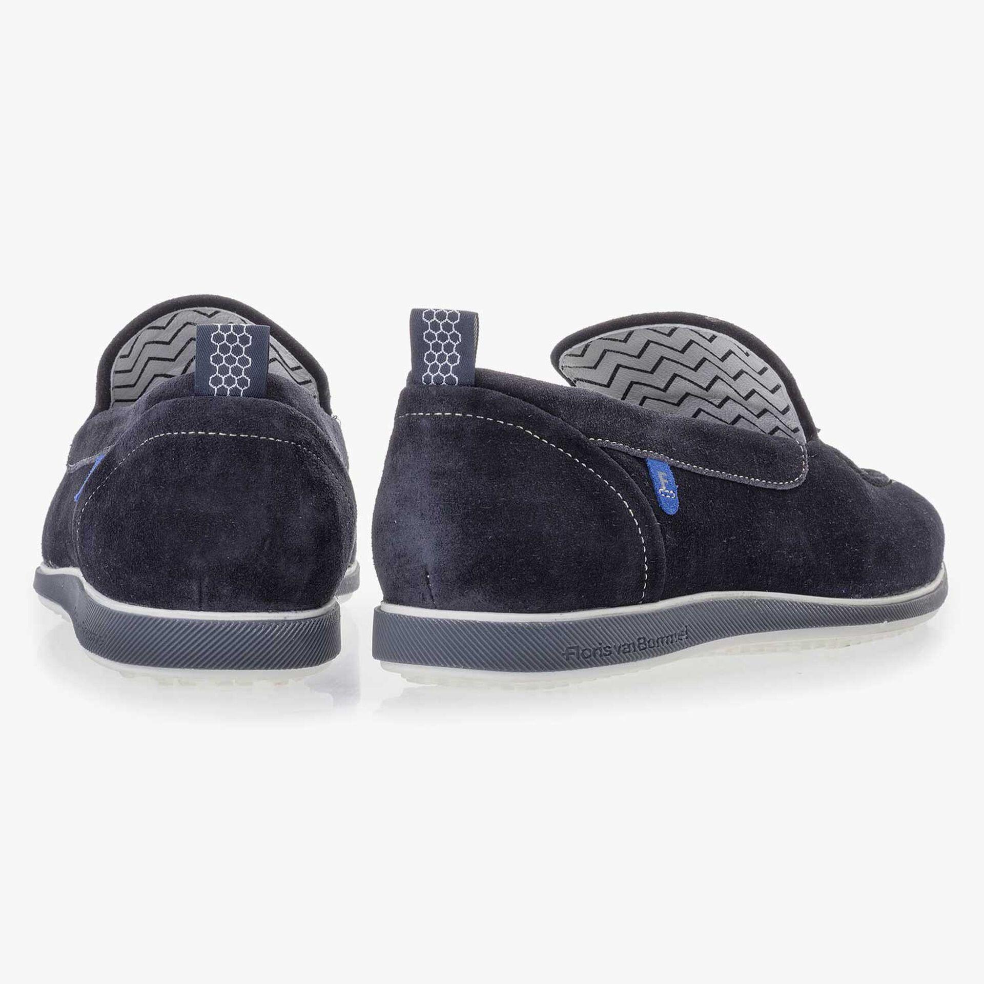 Donkerblauwe suède loafer
