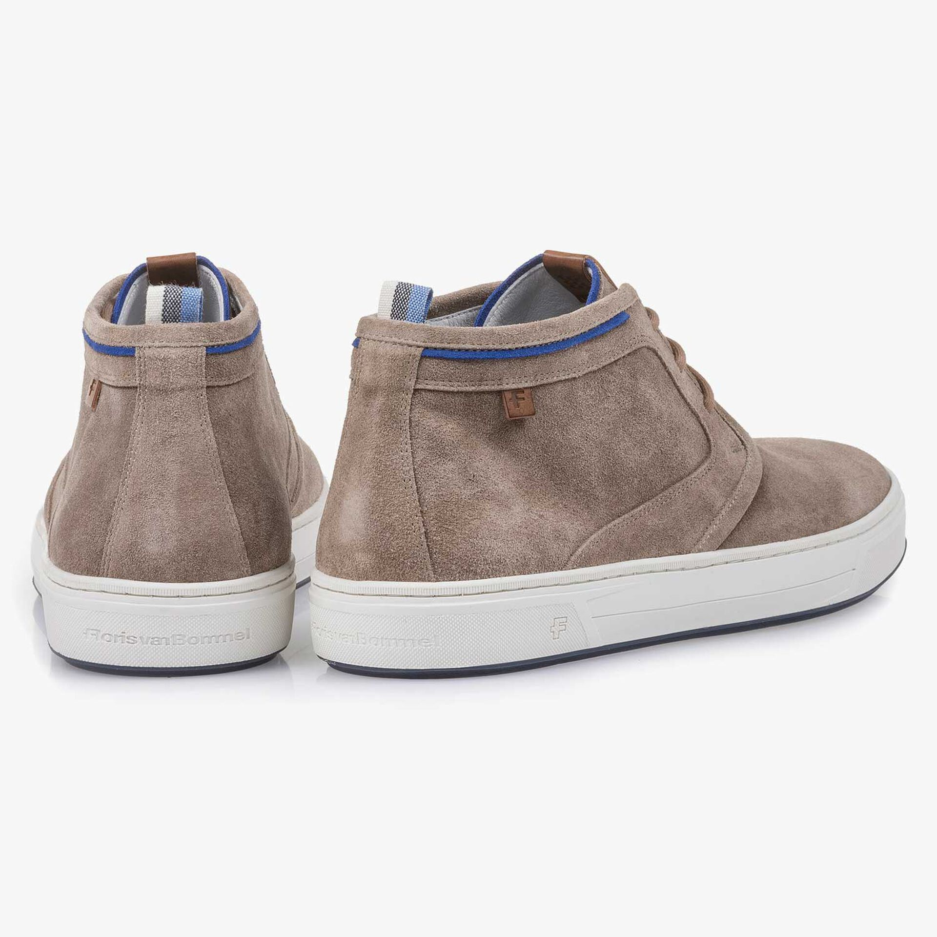 Taupe-coloured washed suede leather lace shoe