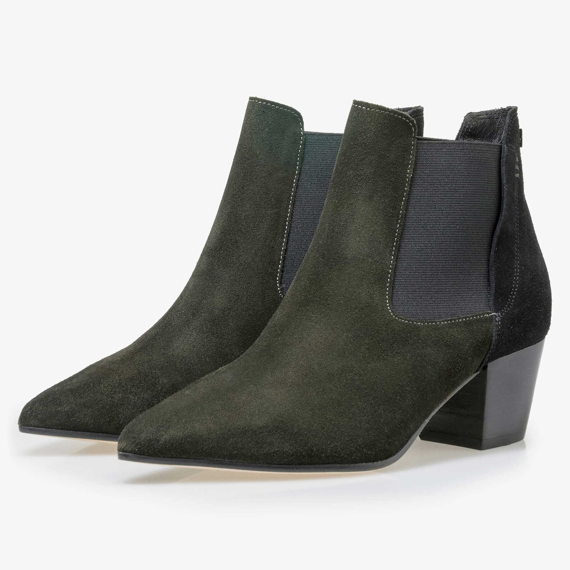 Floris van Bommel olive green suede leather ankle boot