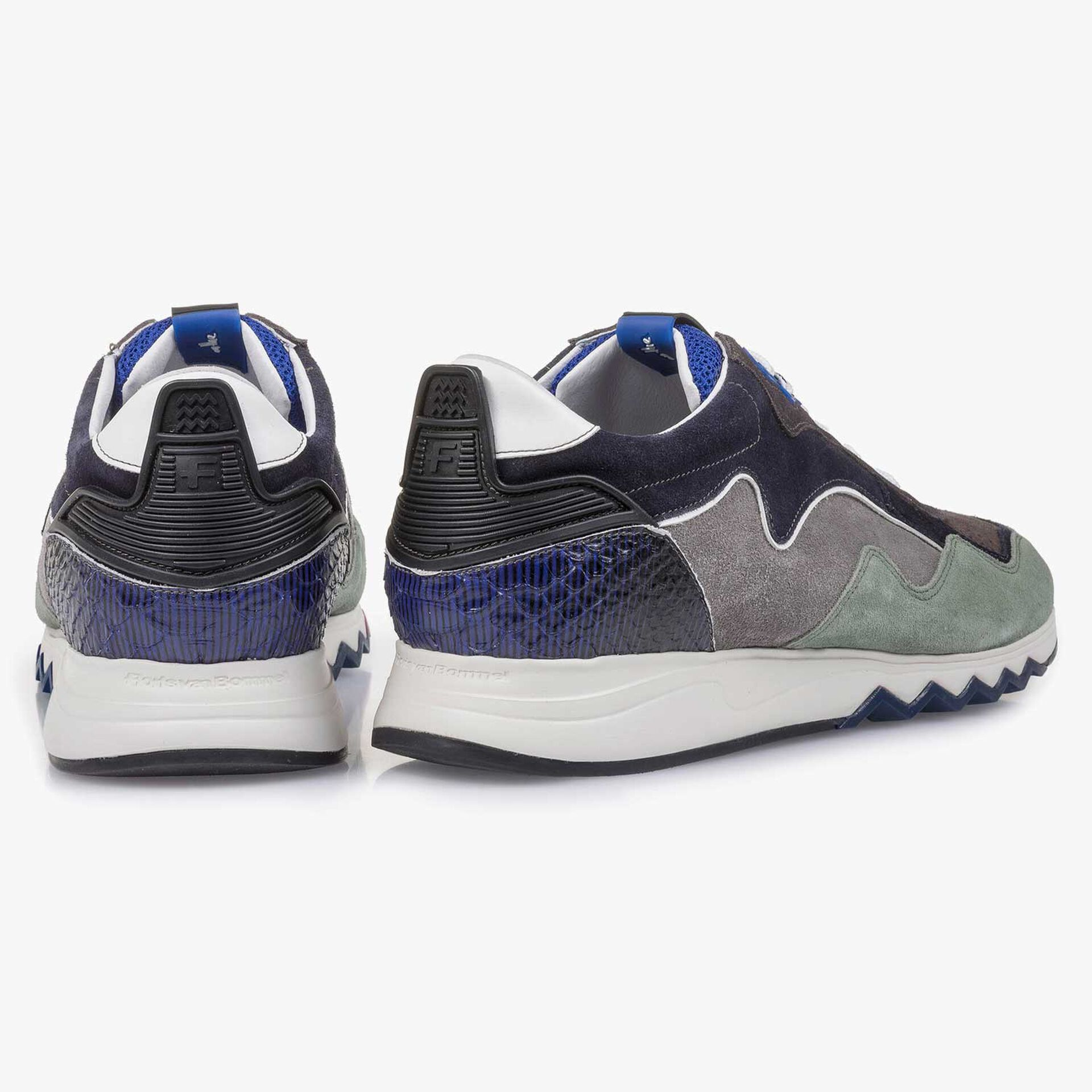 Green-blue suede leather sneaker