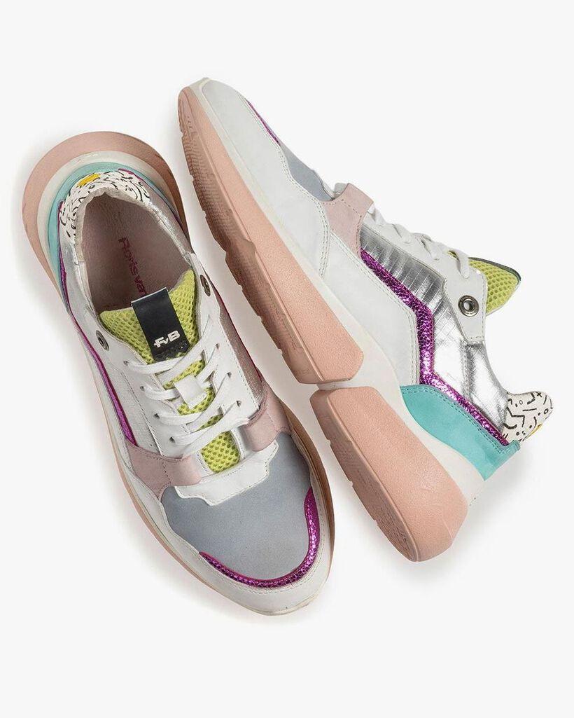 Multi-color leren sneaker