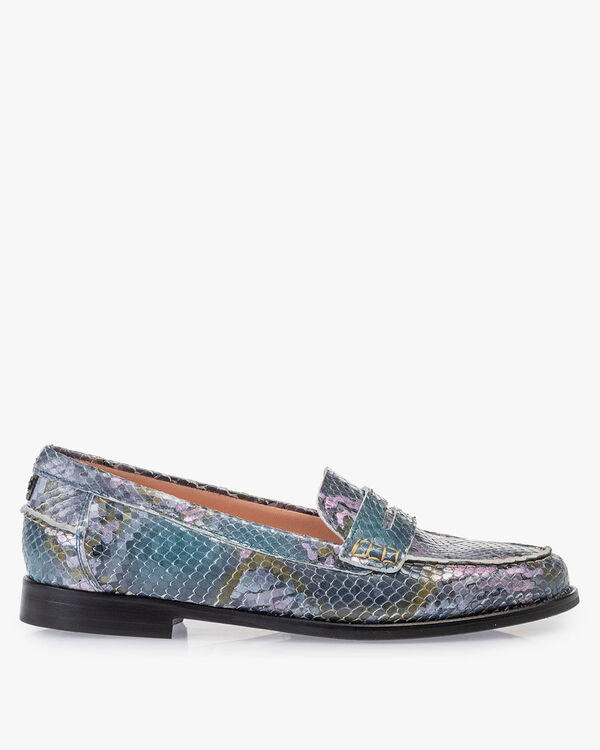 Loafer geprint leer blauw