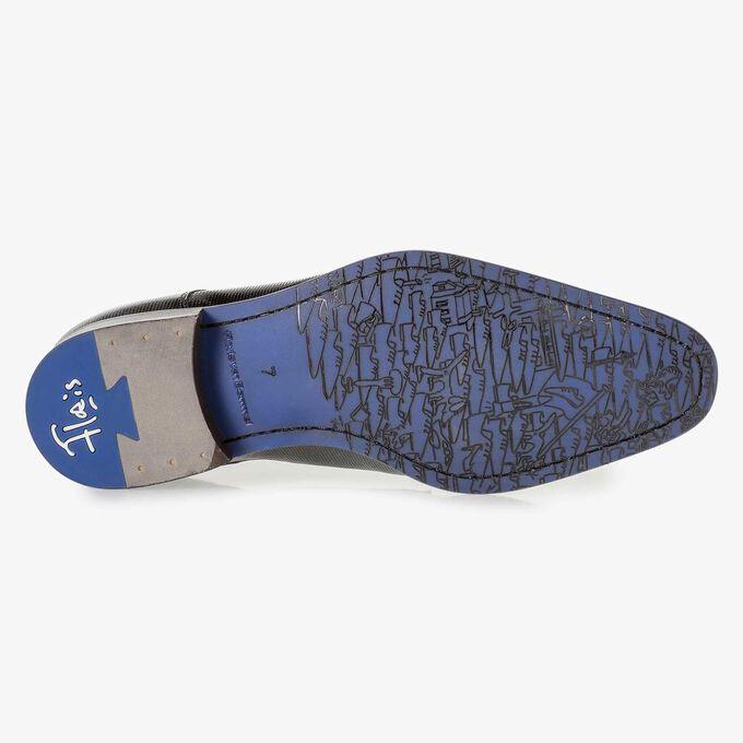 Premium blauwe lakleren veterschoen met print