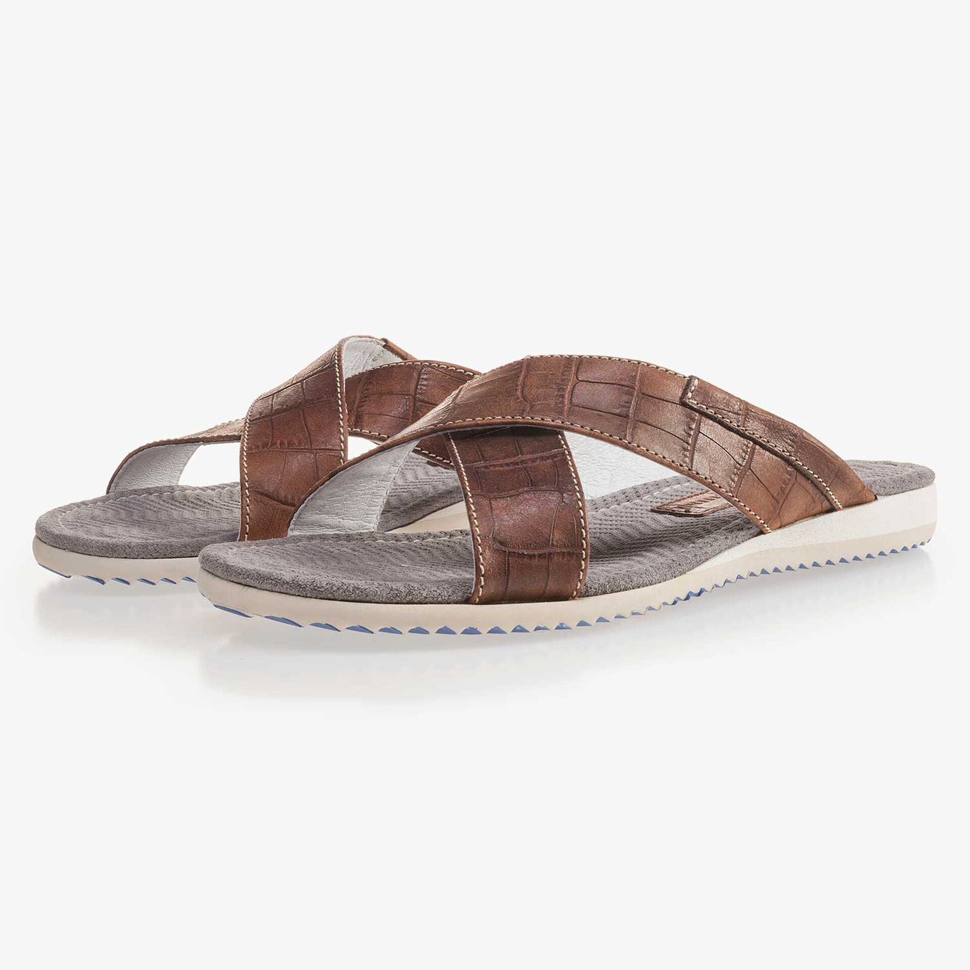 Cognac-coloured leather slipper with cross straps and croco print