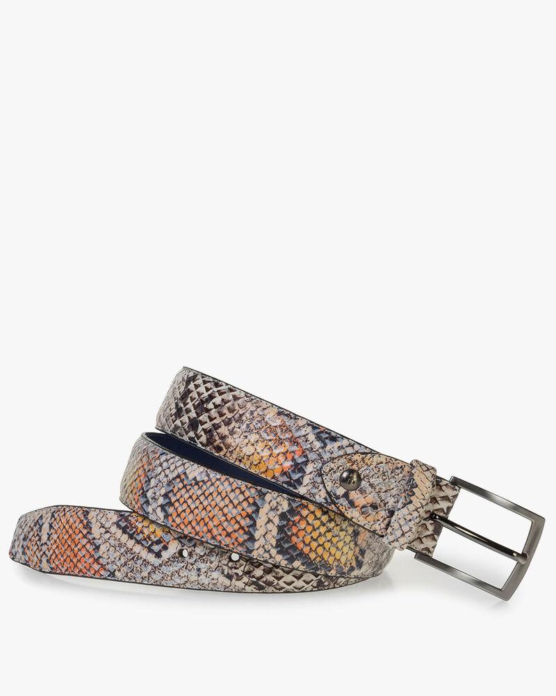 Premium belt orange snake print