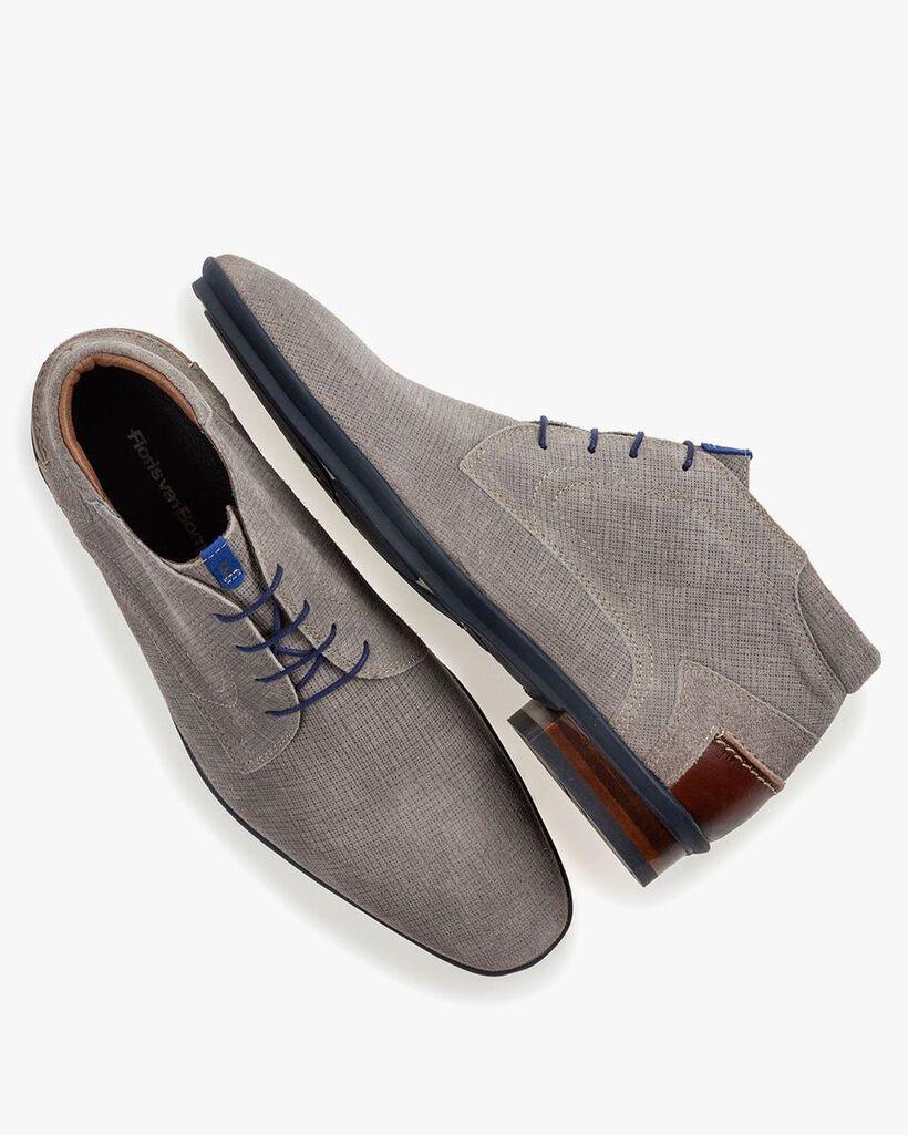 Boot geprint suède grijs