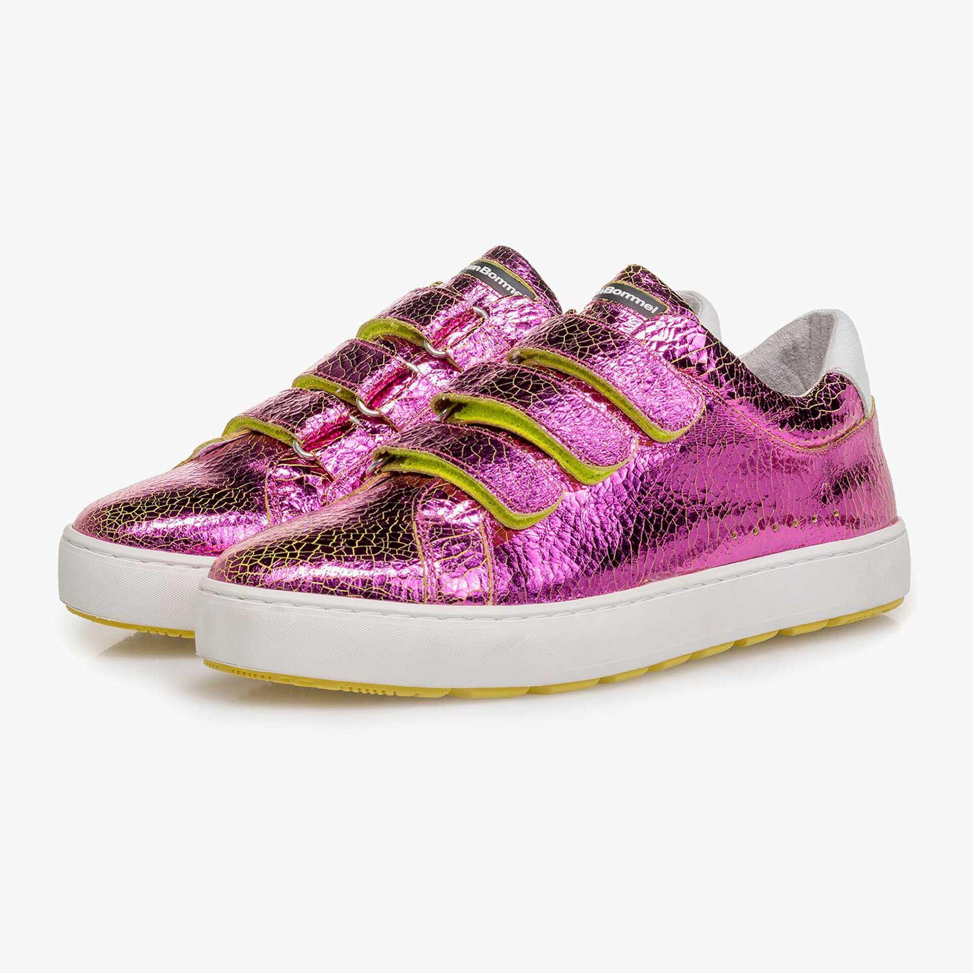 Roze metallic leren sneaker met changeant effect