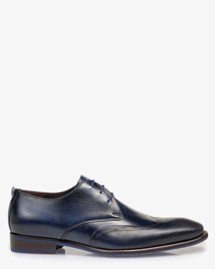 Lace shoe calf leather dark blue