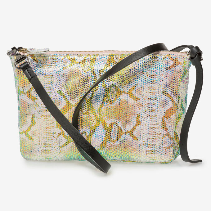 Leren tas met groen/gouden metallicprint