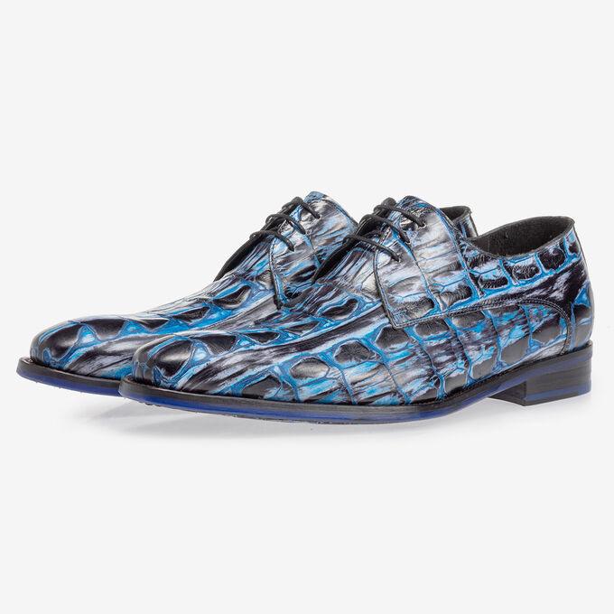 Veterschoen crocoprint blauw
