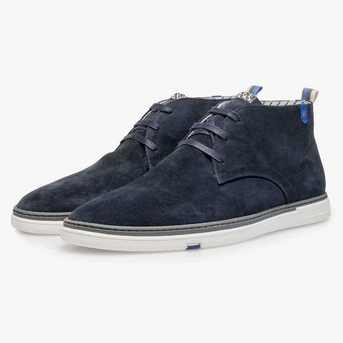 Blue slightly buffed suede leather lace boot
