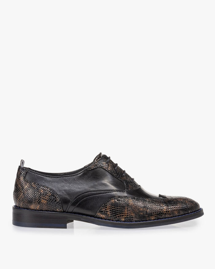 Veterschoen crocoprint koper