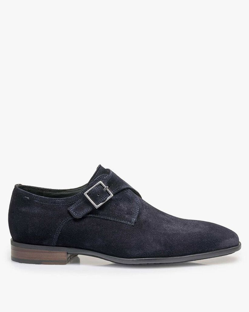 Dark blue waxed suede leather monk strap