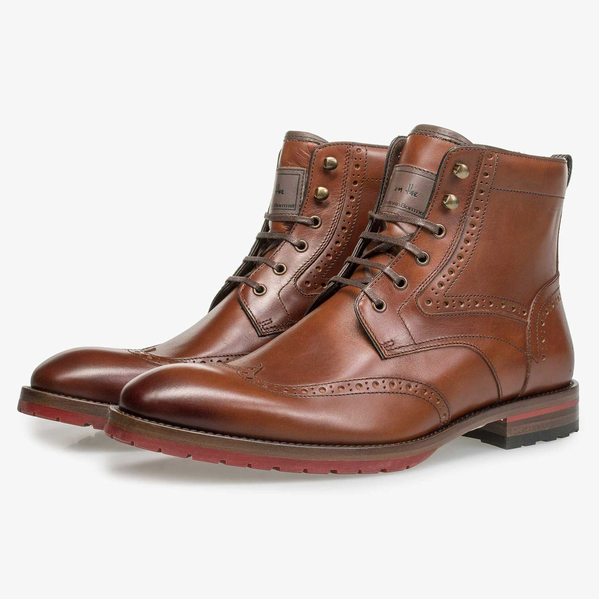Cognac leren brogue veterboot