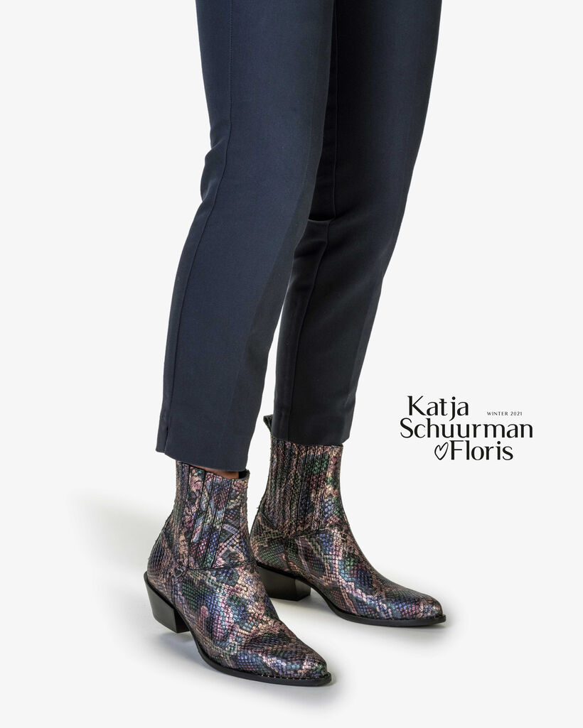 Chelsea boot metallic print roze