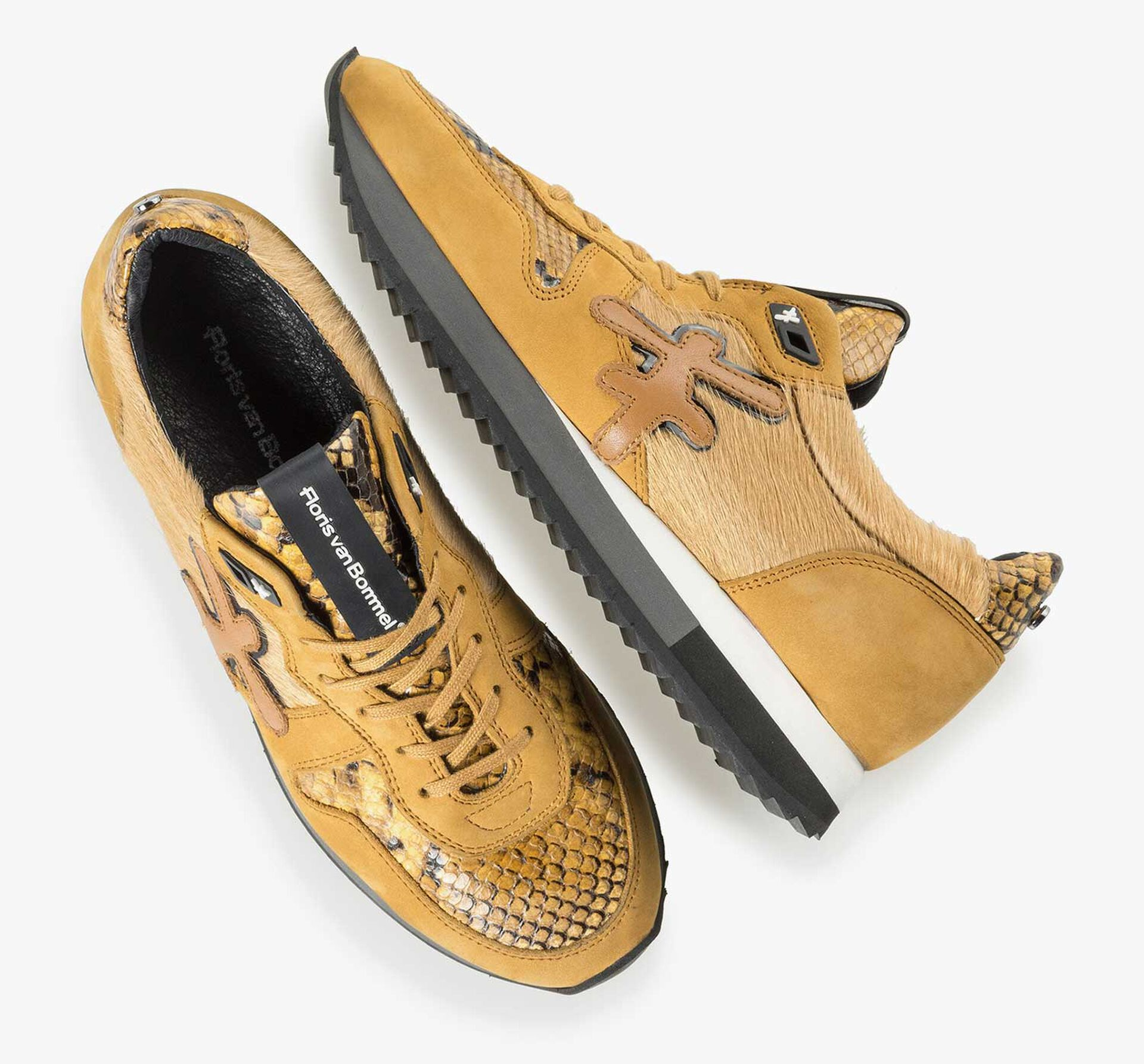 Ochre yellow sneaker with pony hair