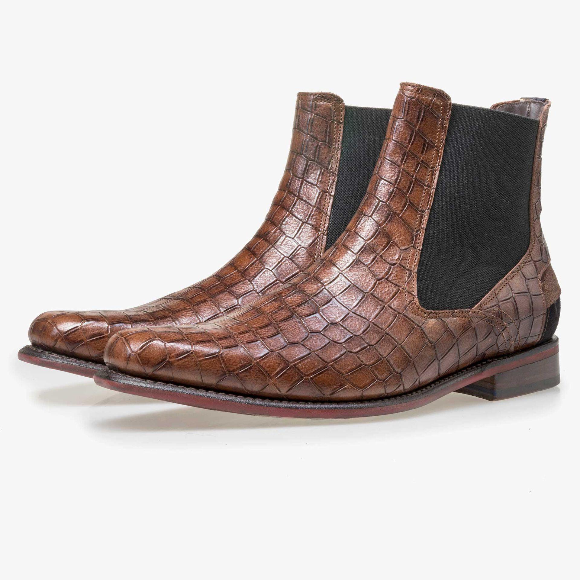 Floris van Bommel bruine croco print heren chelsea boot
