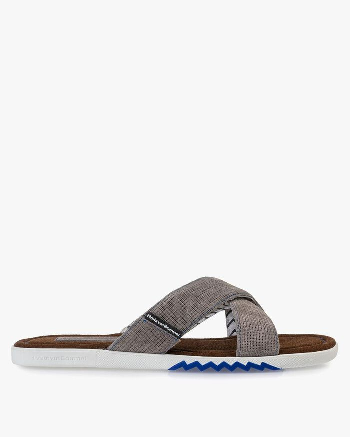 Slipper suede leather grey