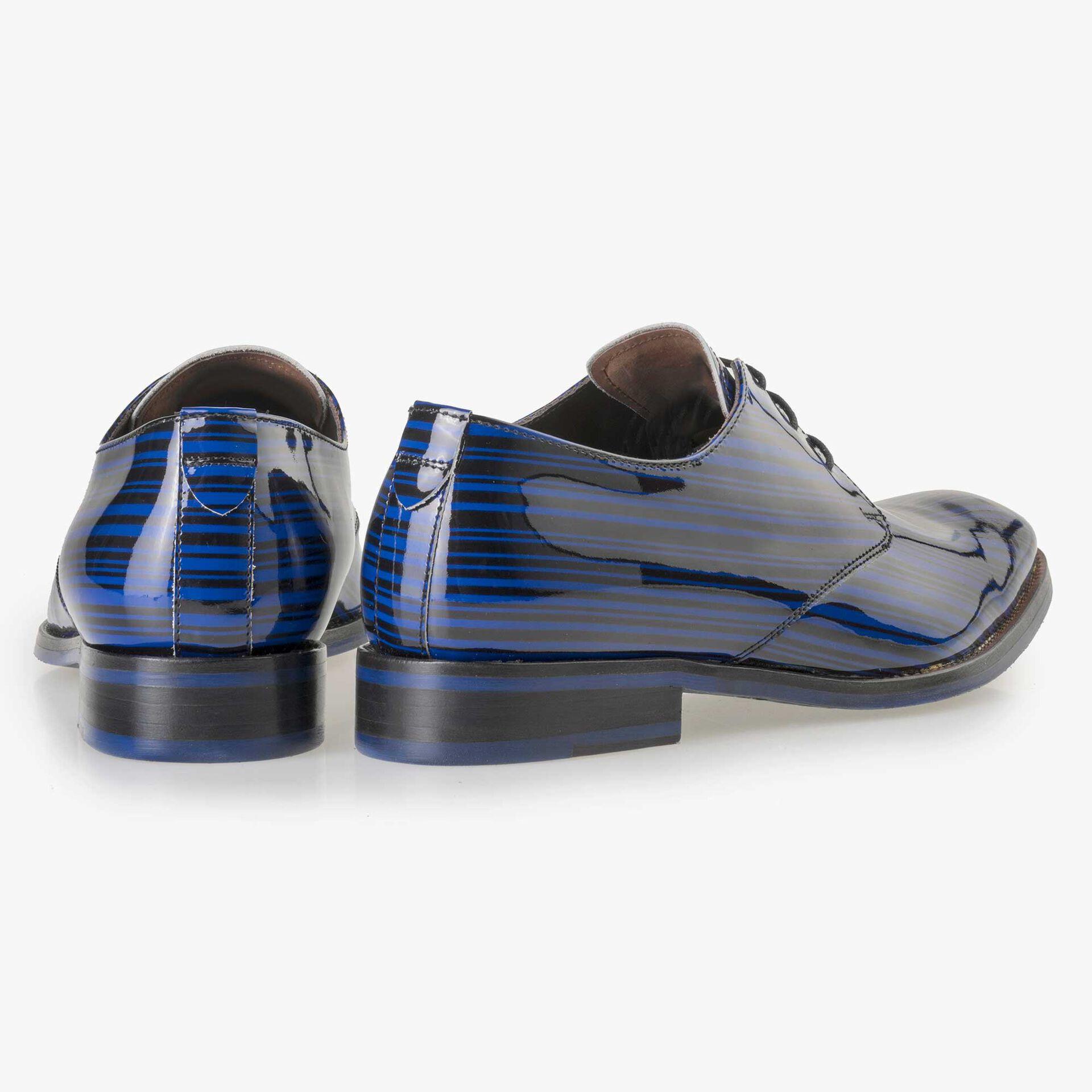 Floris van Bommel Premium men's cobalt blue patent leather lace shoe
