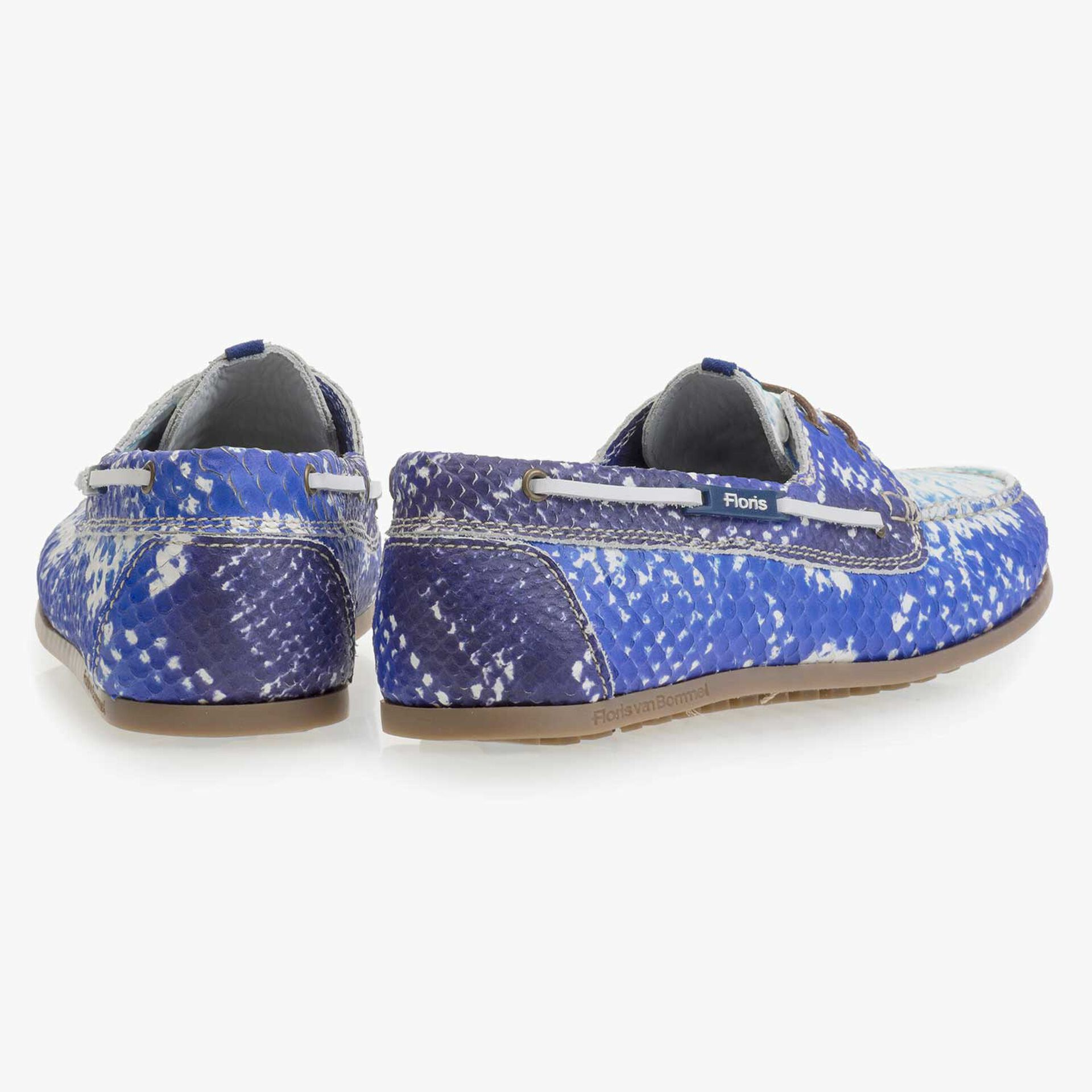 Blue leather boat shoe with snake print