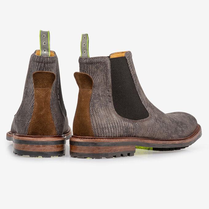 Chelsea boot lizardprint grijs