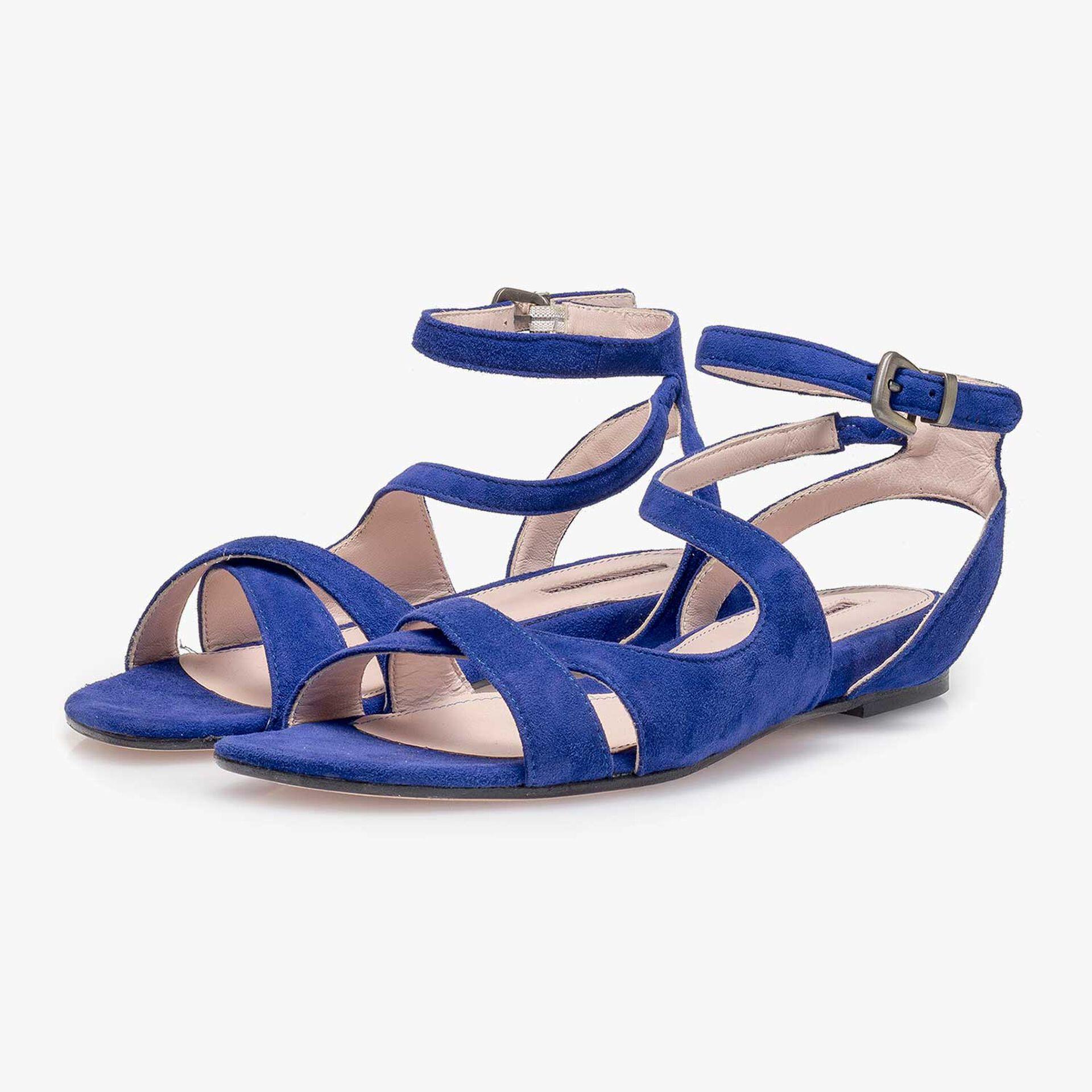 Kobaltblauwe suède sandaal