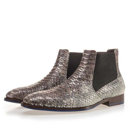 Premium Chelsea boot with a snake relief pattern