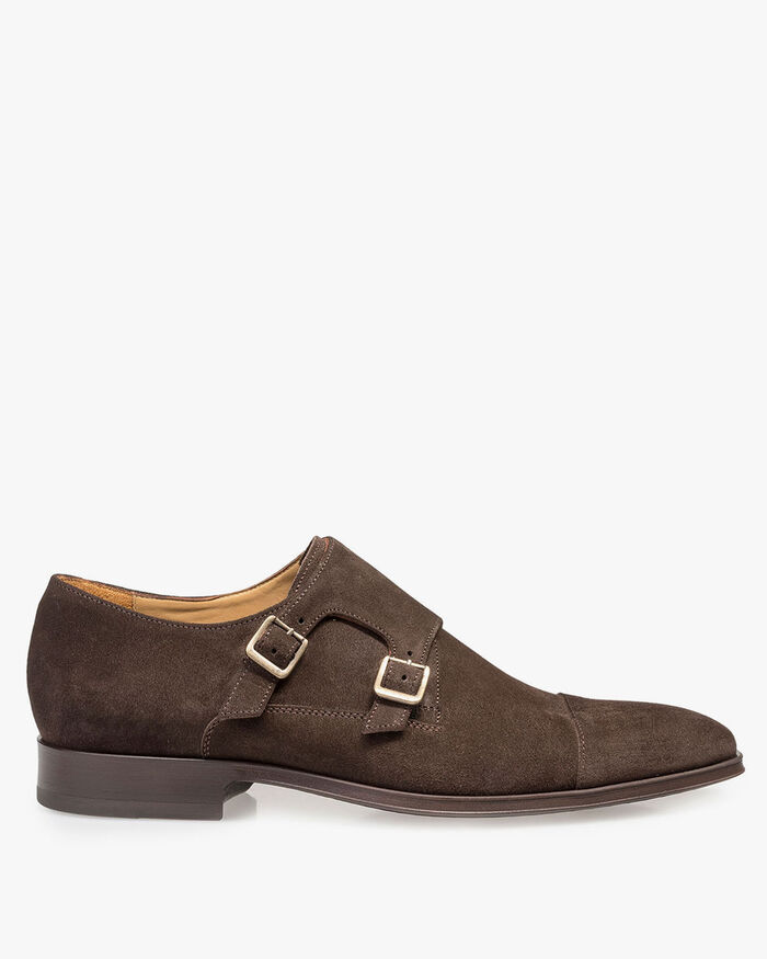 Dark brown calf suede leather monk strap
