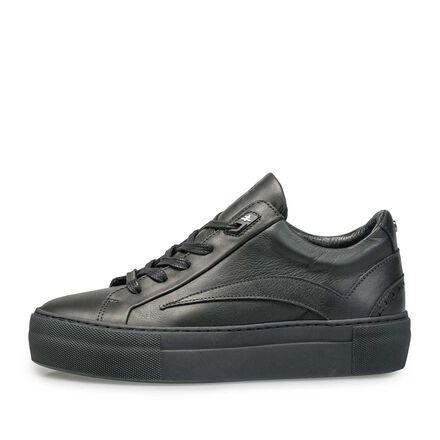 Leren sneaker met zwarte kuipzool
