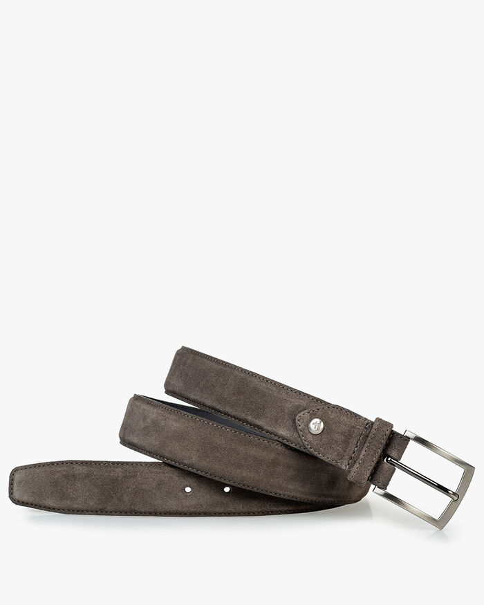 Belt suede leather dark grey