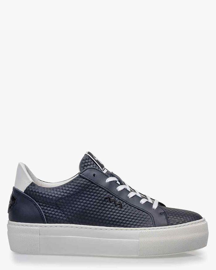 Sneaker geprint leer blauw