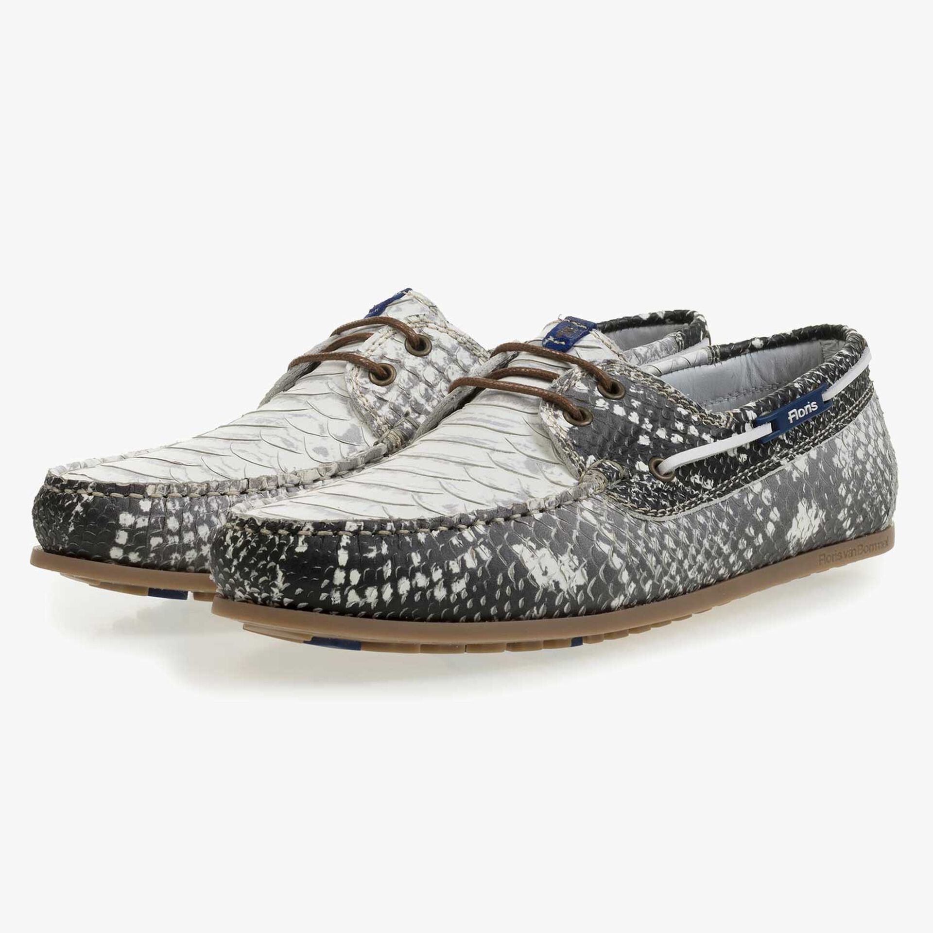 Grey leather boat shoe with snake print