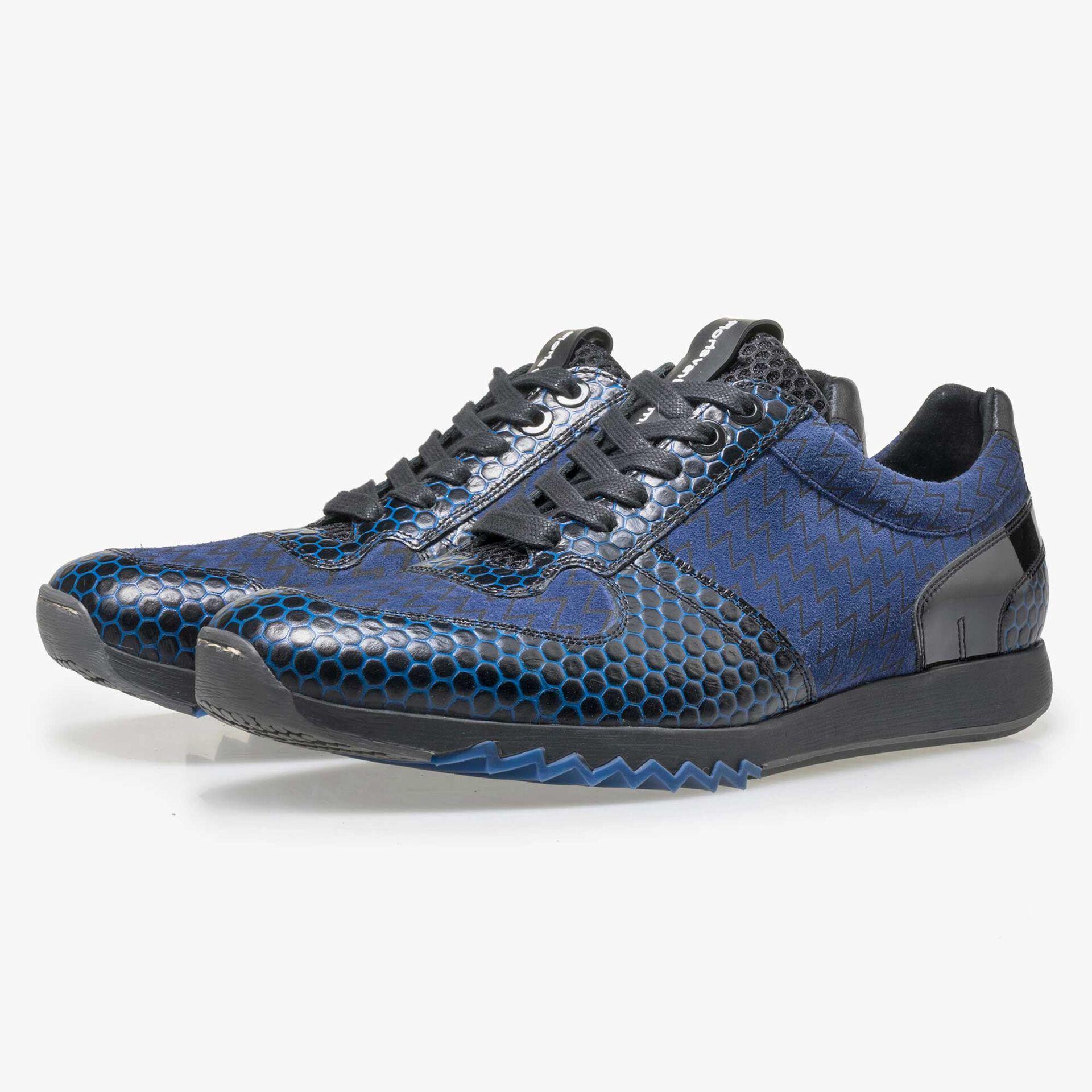 Floris van Bommel men's blue leather sneaker
