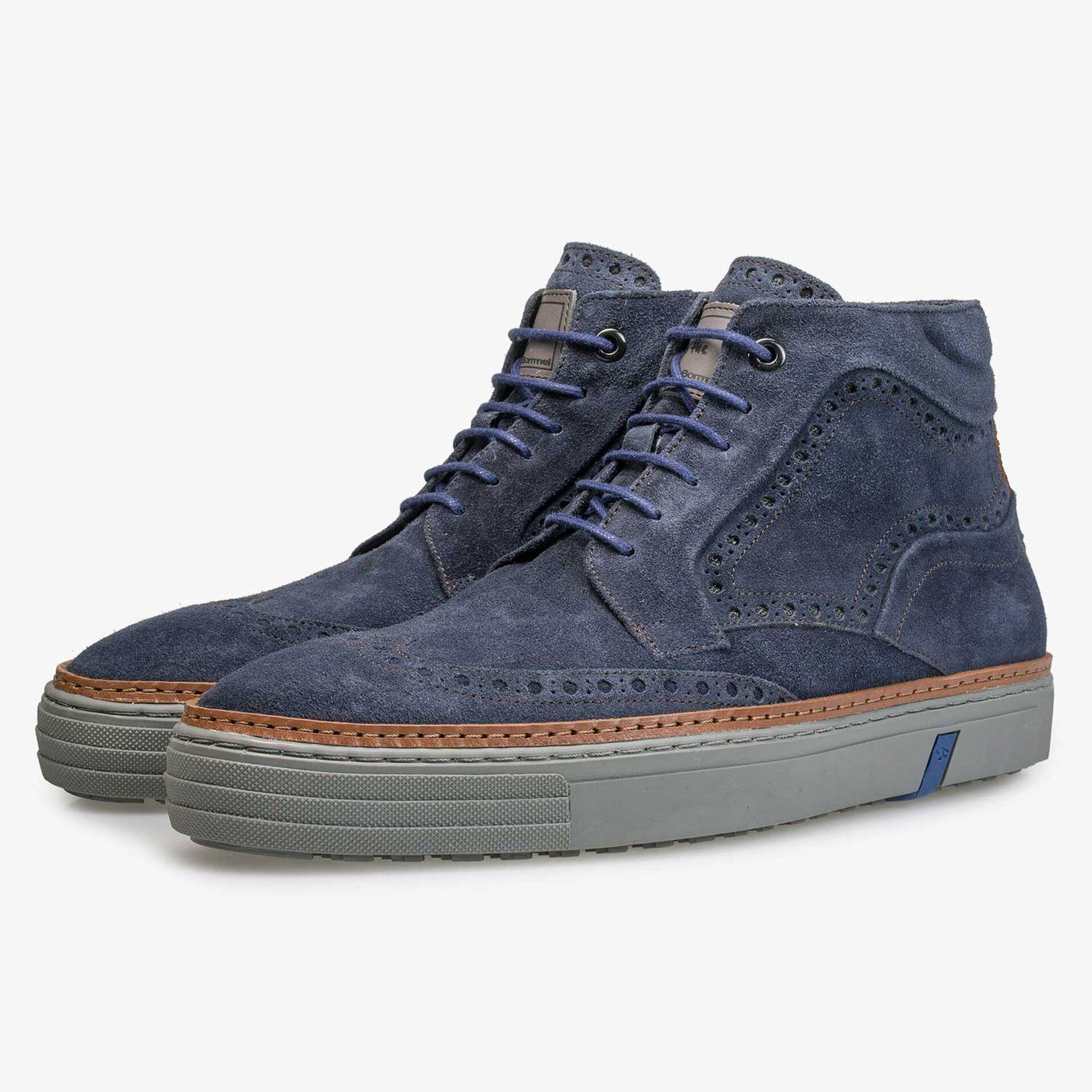 Blauwe brogue suède sneaker