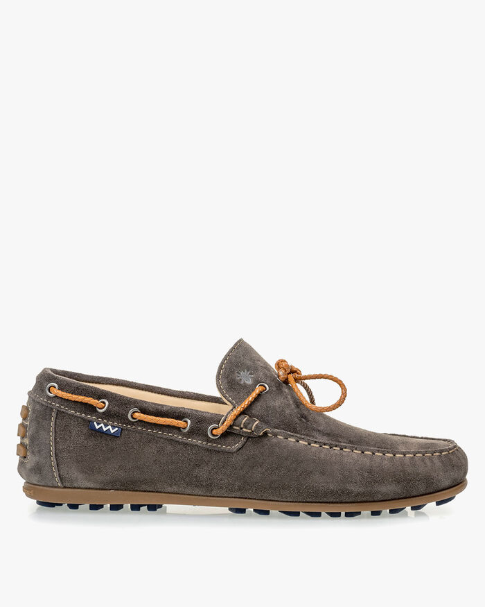 Moccasin suede leather dark grey