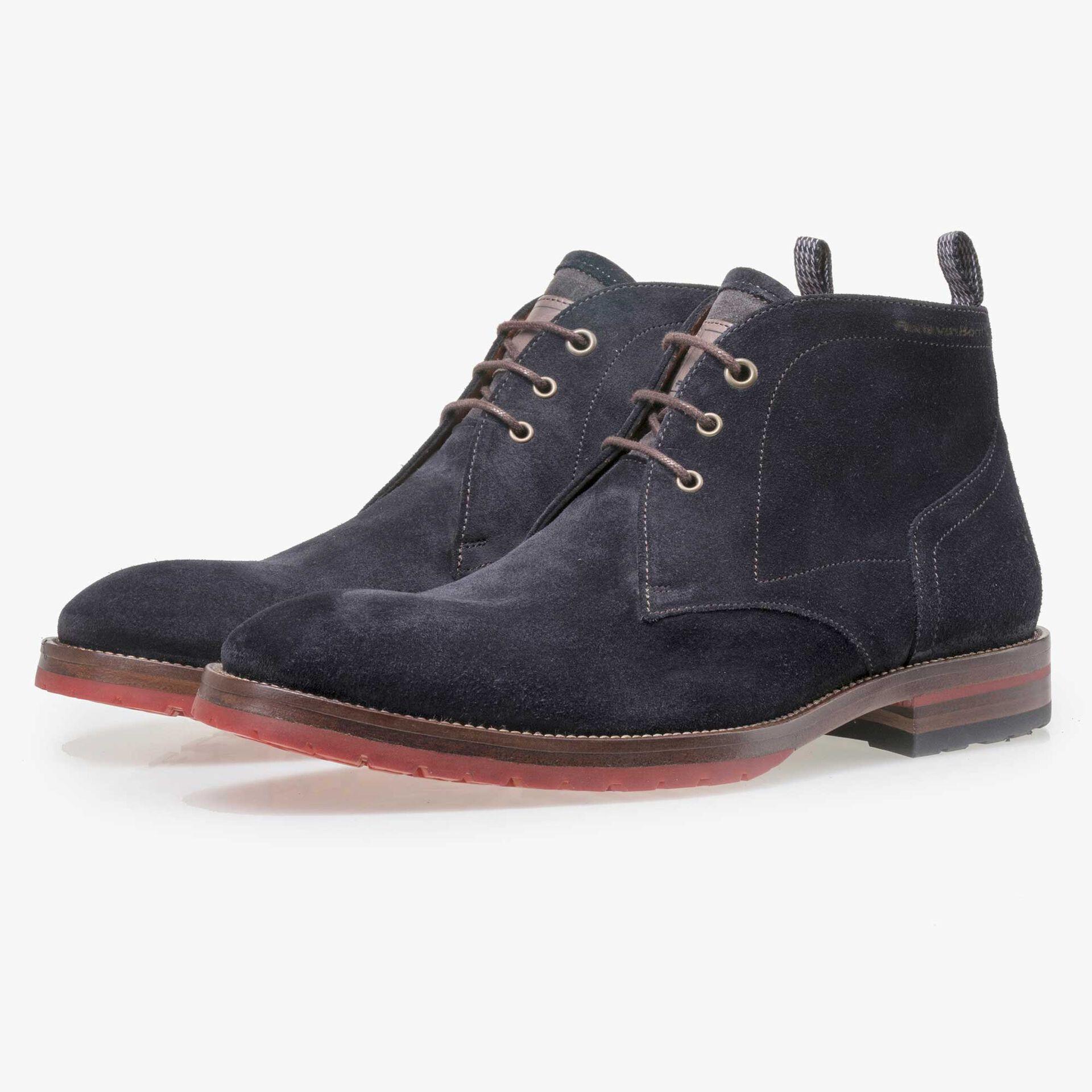 Floris van Bommel men's dark blue suede leather lace boot