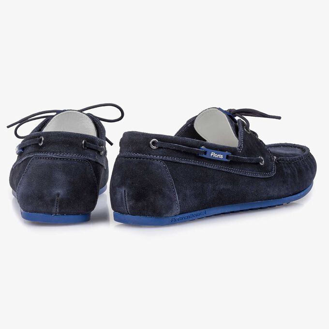 Blue slightly buffed suede leather sailing shoe