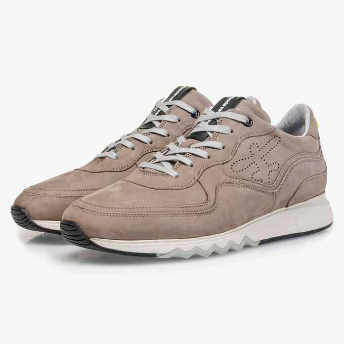 Taupe-coloured nubuck leather sneaker