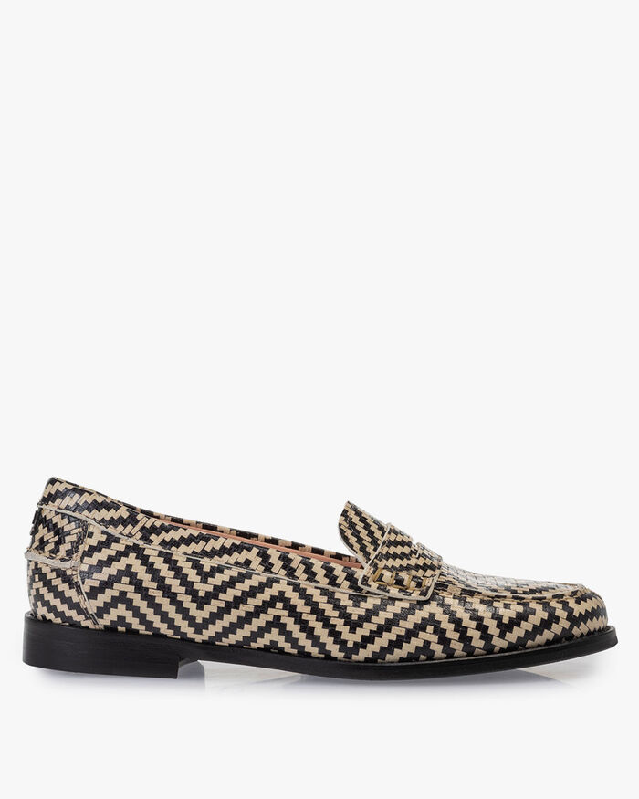 Loafer geprint leer zwart/wit