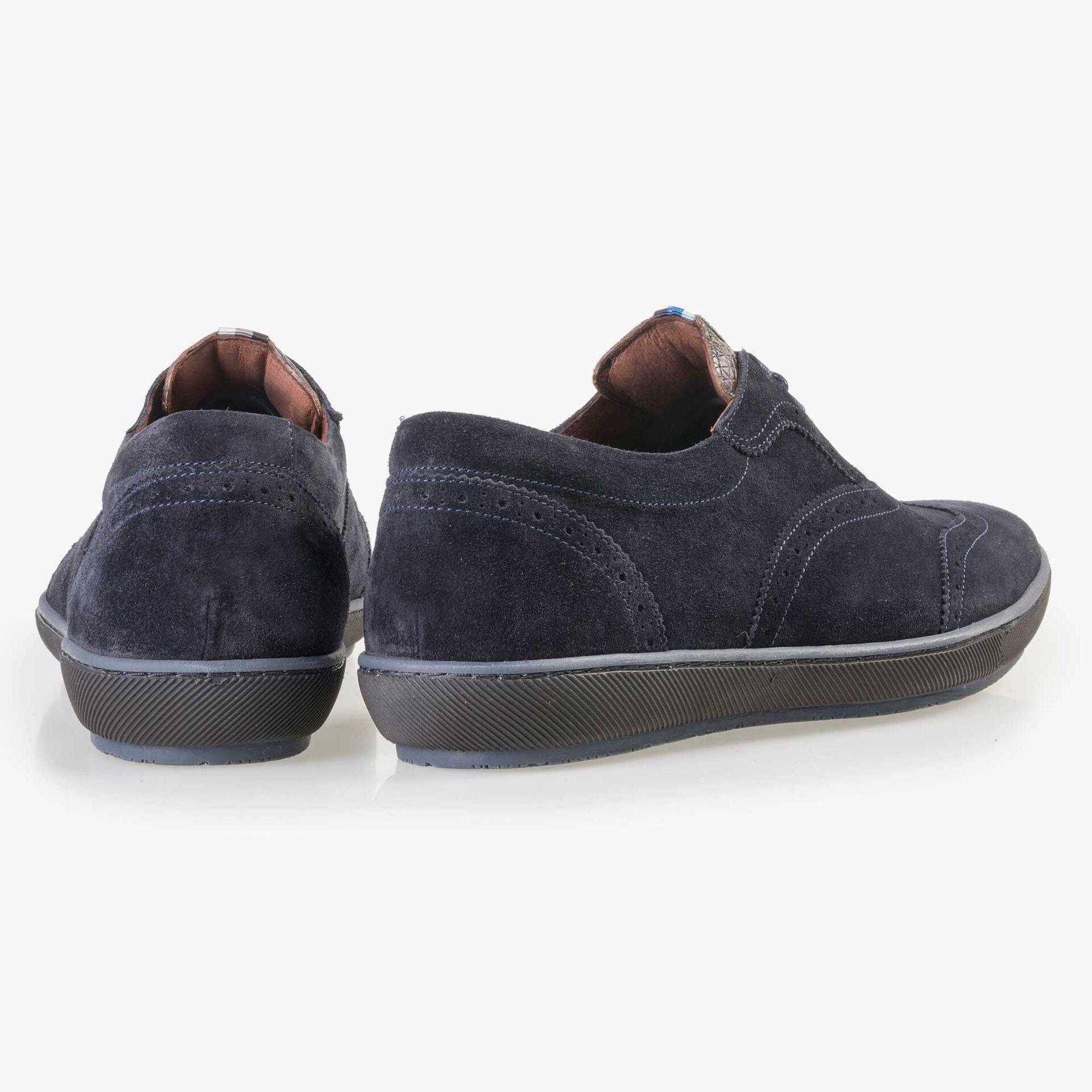 Floris van Bommel men's dark blue suede brogue lace shoe