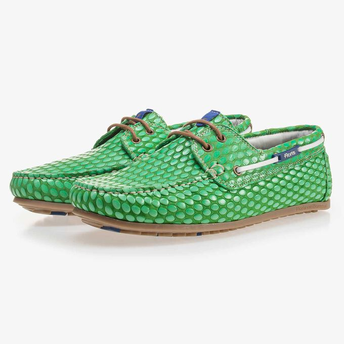 Green, printed leather boat shoe