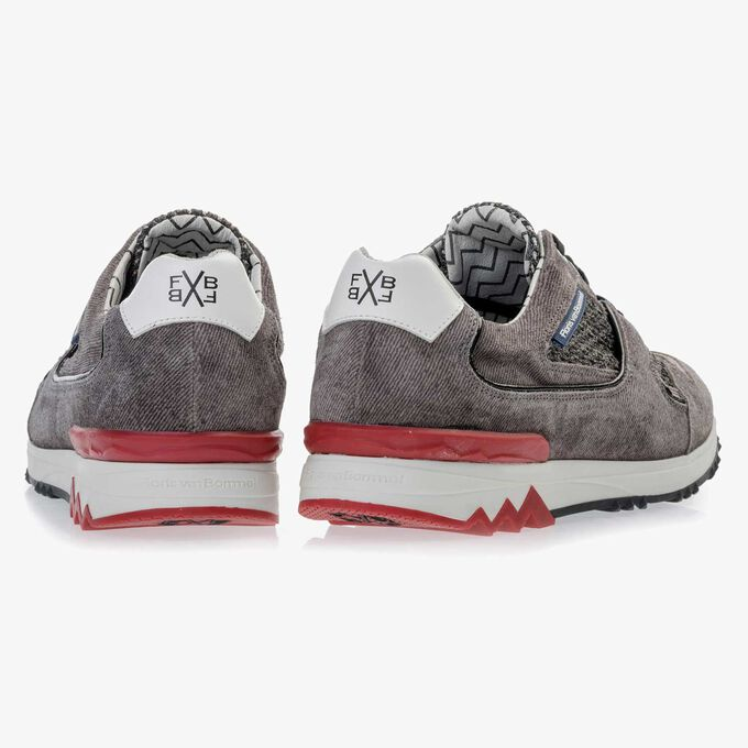 Grey suede leather sneaker finished with a denim structure