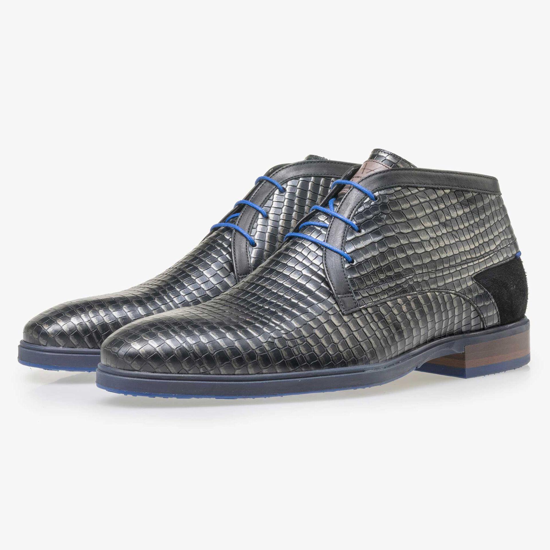 Floris van Bommel men's black leather lace boot with a grey metallic pattern