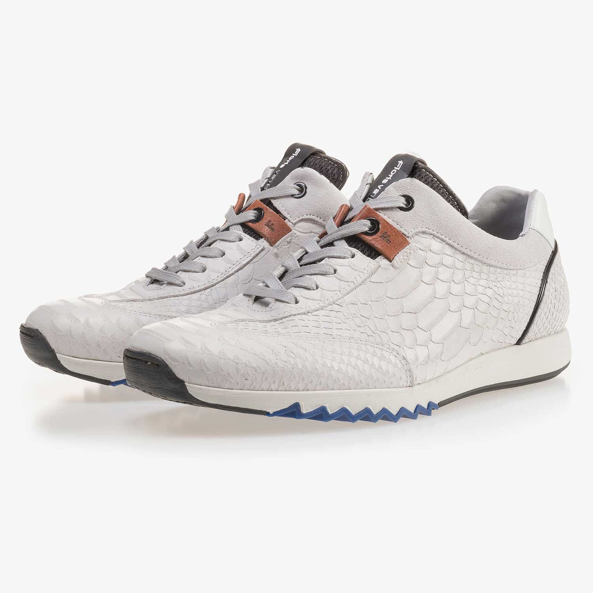 White calf's leather sneaker with a snake print
