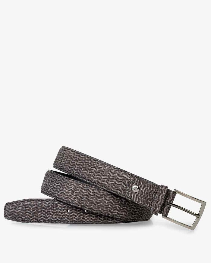 Belt printed nbuck leather taupe