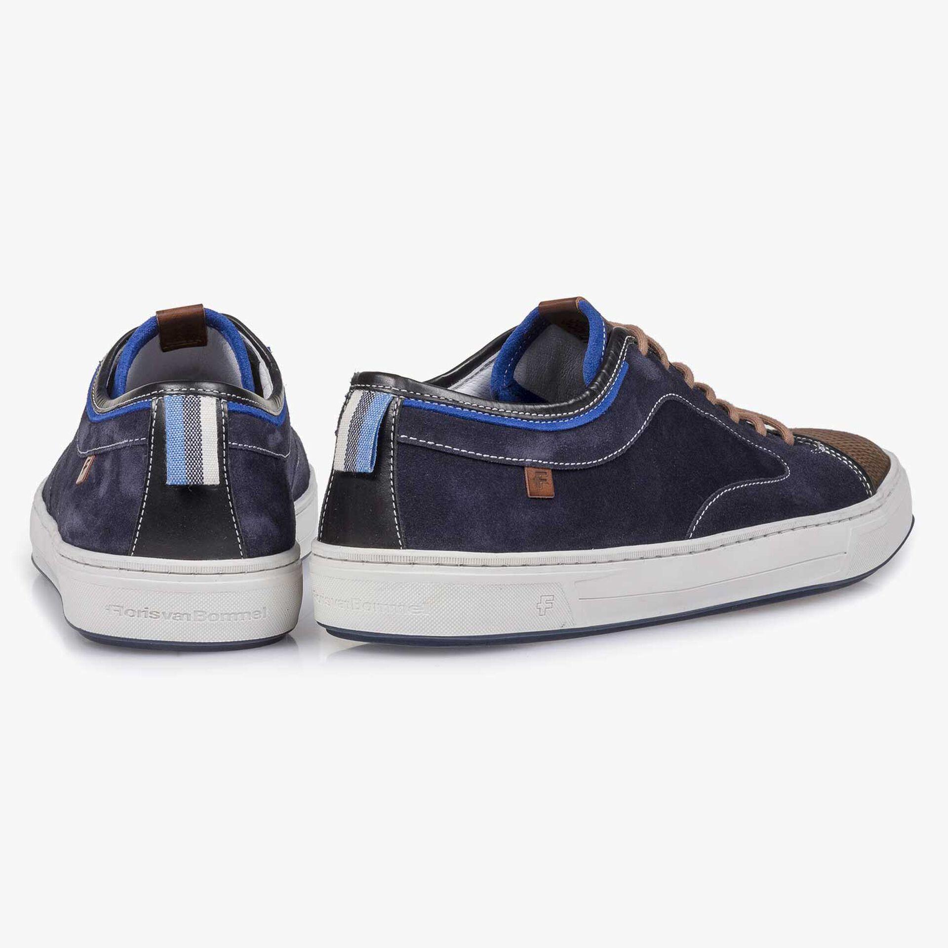 Dark grey & blue lizard print suede leather sneaker