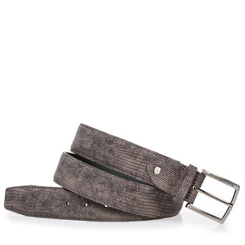 Belt lizard print grey