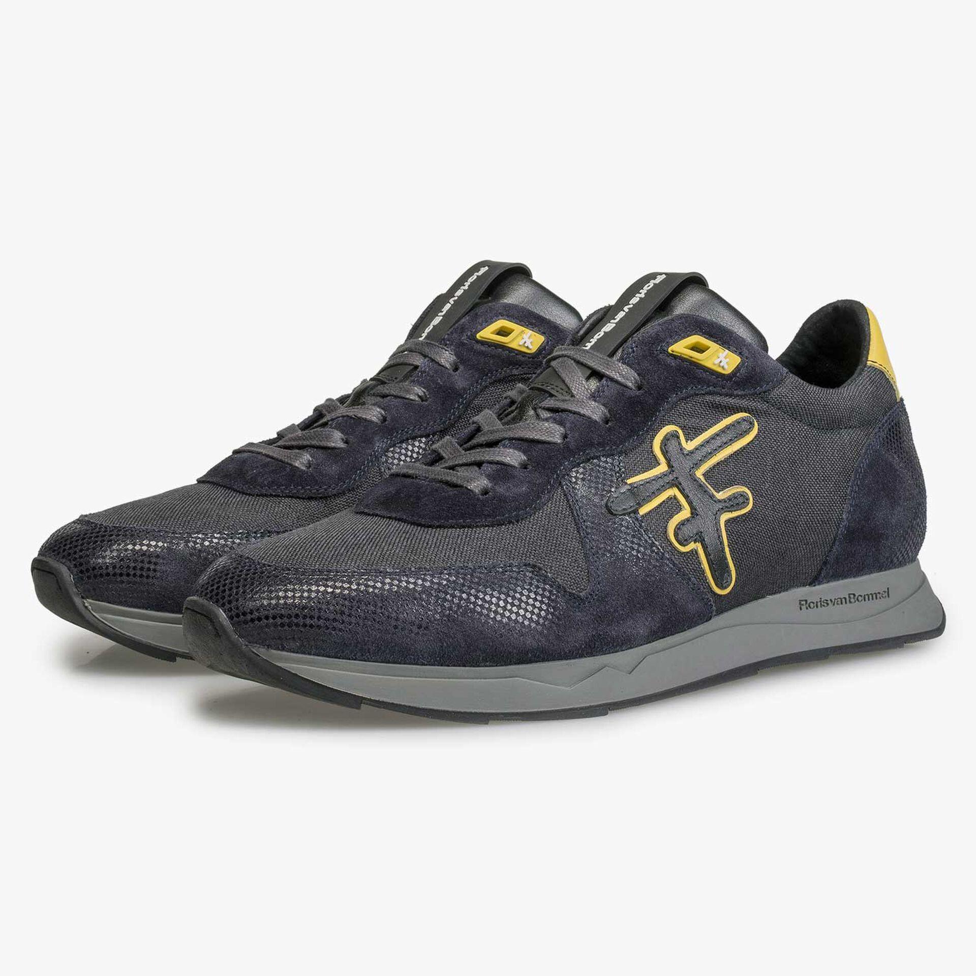 Blauw/ grijze sneaker met gele details